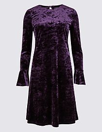 Velvet Long Sleeve Skater Midi Dress