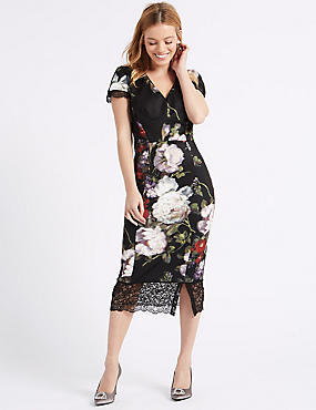 PETITE Floral Print Bodycon Midi Dress