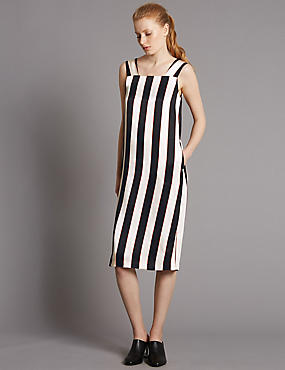 Striped Slip Dress with Belt