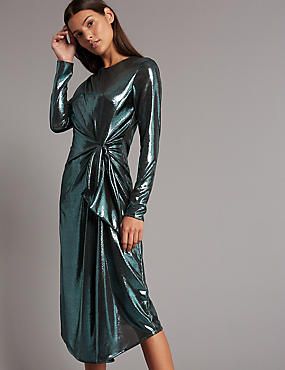 Sparkly Long Sleeve Bodycon Midi Dress