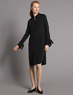 Cuff Detail Long Sleeve Shirt Dress