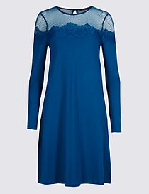 Lace Yoke Long Sleeve Swing Dress