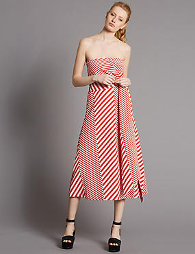 Cotton Blend Striped Skater Dress