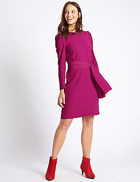 Tie Waist Puff Sleeve Tunic Dress