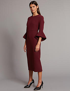 Flared Sleeve Bodycon Midi Dress