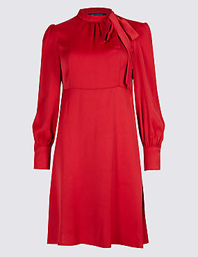 Tie Neck Long Sleeve Swing Midi Dress