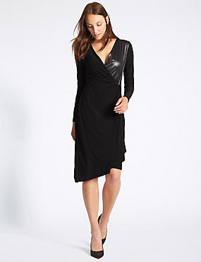 Lamé Drape Long Sleeve Bodycon Midi Dress