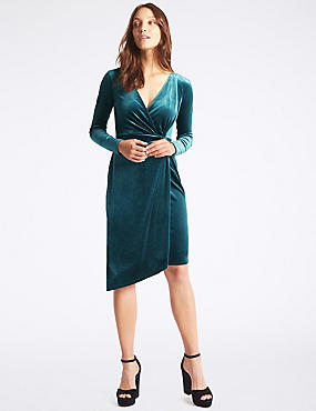 Velvet Drape Waist Bodycon Midi Dress