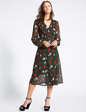 Floral Print Bubble Sleeve Wrap Midi Dress