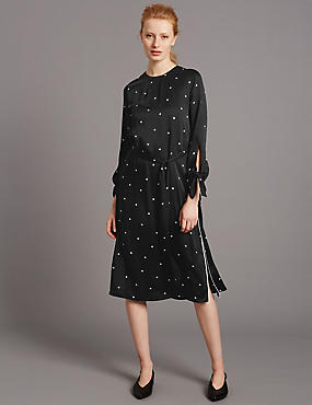 Spotted Long Sleeve Tunic Dress
