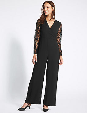 Wrap Lace Sleeve Jumpsuit