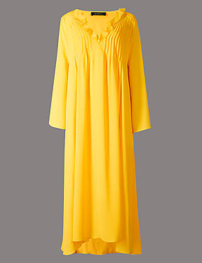 Elliptical Hem Long Sleeve Maxi Dress