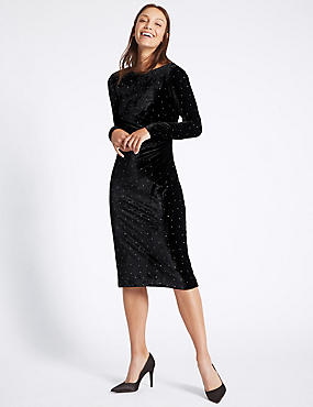 Stud Velvet Long Sleeve Tunic Midi Dress