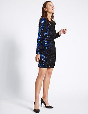 Sparkly Sequin Long Sleeve Shift Dress