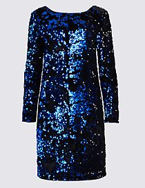 Sparkly Long Sleeve Shift Dress