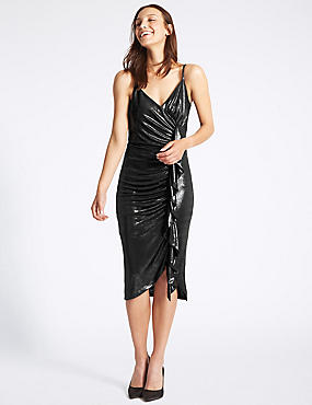 Ruched Ruffle Bodycon Midi Dress
