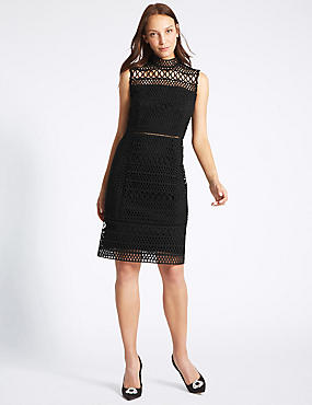 Geometric Lace Sleeveless Shift Dress