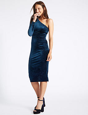 Velvet Sparkle Bodycon Midi Dress