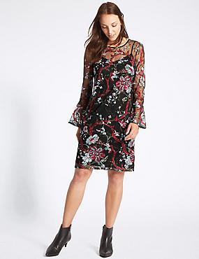 Embroidered Botanical Mesh Tunic Midi Dress