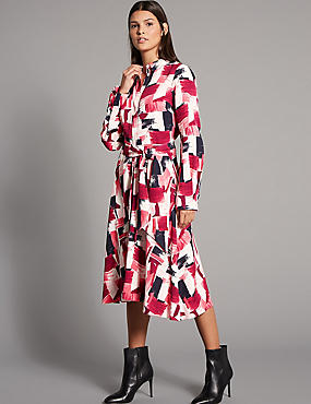Printed Shirt Midi Dress with Belt