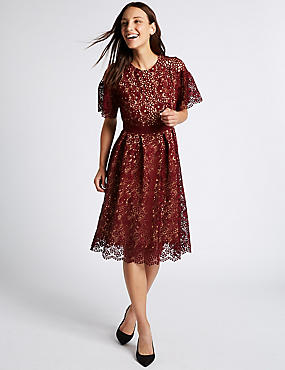 Floral Lace Short Sleeve Skater Midi Dress