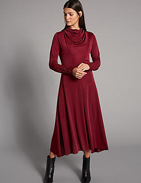 Hanky Hem Cowl Neck Bodycon Midi Dress