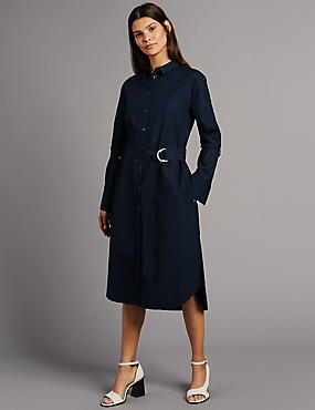 Pure Cotton Long Sleeve Shirt Dress