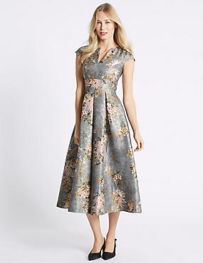 Jacquard Cap Sleeve Prom Midi Dress