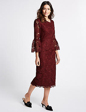 Lace Flute Sleeve Shift Midi Dress