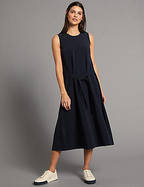 Tie Front Tunic Midi Dress, NAVY, catlanding