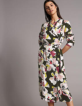 Floral Print Midi Shirt Dress, KHAKI MIX, catlanding