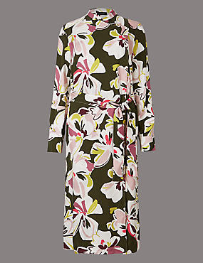 Pure Cotton Floral Print Shirt Midi Dress