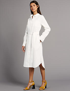 Pure Cotton Shirt Dress with Belt