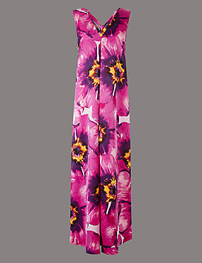 Floral Print Tie Back Maxi Dress