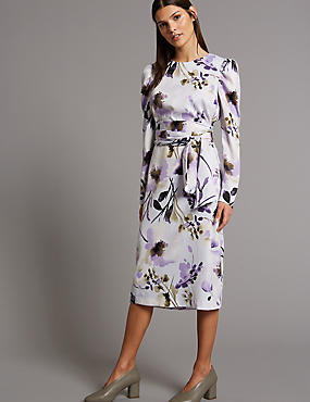 Floral Print Belted Tunic Midi Dress