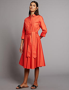 Pure Cotton Flare Shirt Dress with Belt