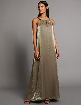 Metallic Halter Neck Sleeveless Shift Dress