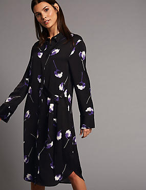 Floral Print Tie Detail Shirt Midi Dress