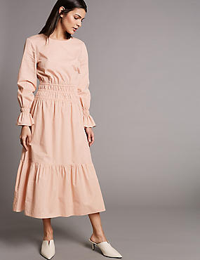 Pure Cotton Ruched Waist Midi Dress, BLUSH PINK, catlanding