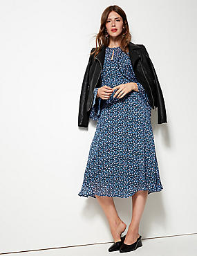 Floral Print Drop Waist Midi Dress , BLUE MIX, catlanding