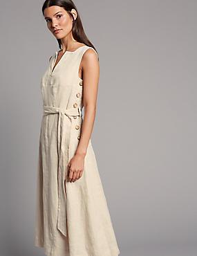 Pure Linen Swing Midi Dress  , OATMEAL, catlanding