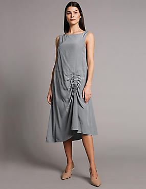 Ruched Front Asymmetric Dress, STONE, catlanding