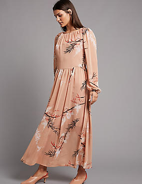 Floral Print Scoop Neck Tunic Maxi Dress , LIGHT TAN MIX, catlanding