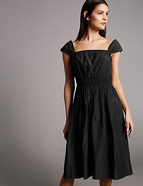 Taffeta Cap Sleeve Skater Midi Dress, BLACK, catlanding