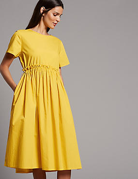 Pure Cotton Drawcord Swing Dress