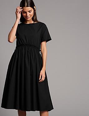 Pure Cotton Drawcord Swing Dress , BLACK, catlanding