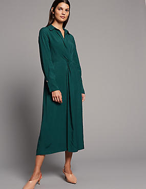 Textured Twist Knot Shirt Maxi Dress