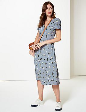 Floral Print Short Sleeve Tea Midi Dress , BLUE MIX, catlanding