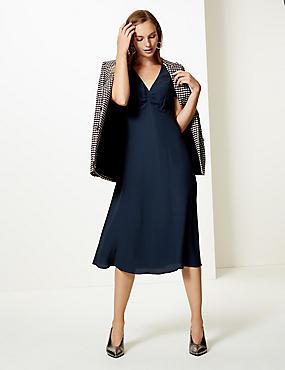 Ruched Front Short Sleeve Tea Midi Dress , NAVY, catlanding