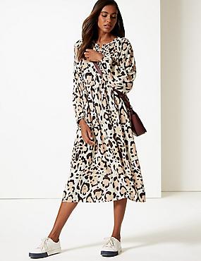 Animal Print Long Sleeve Tea Midi Dress , BROWN MIX, catlanding